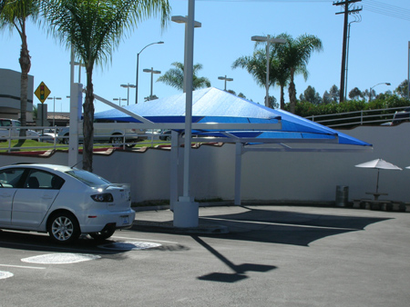 Shade structures over parking