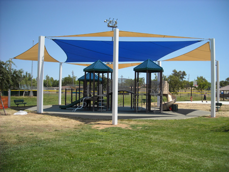 Shade sails over playground