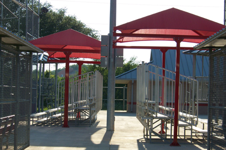 Shade structures at athletic field