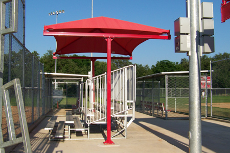 Shade canopy for bleachers 2